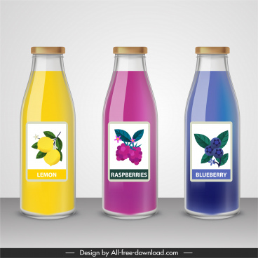 fruit juice bottle templates shiny colored flat sketch