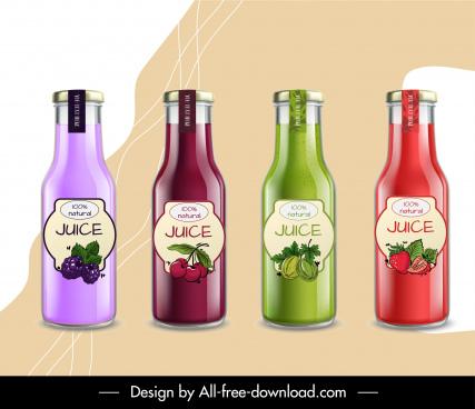 fruit juice bottle templates shiny colorful design