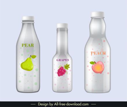 fruit juice bottle templates shiny modern decor