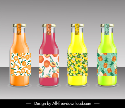 fruit juice bottles templates modern shiny colorful sketch