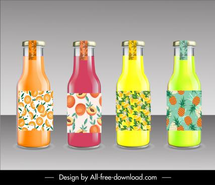 fruit juice bottles templates modern shiny colorful sketch