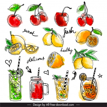 fruit juice design elements colored classic handdrawn sketch