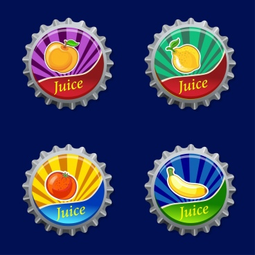 fruit juice label sets multicolored bottle cover isolation
