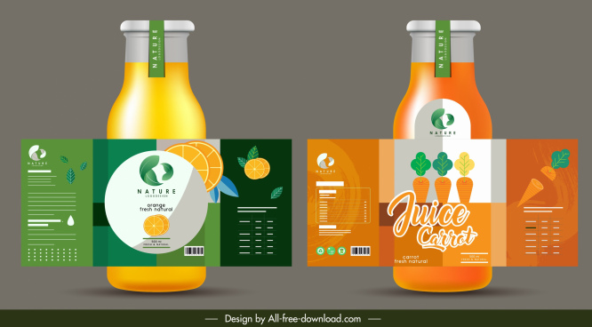 fruit juice label template orange tomato sketch colorful flat
