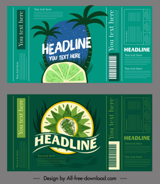 fruit juice label templates dark green handdrawn decor