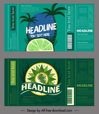 fruit juice label templates dark green handdrawn decor