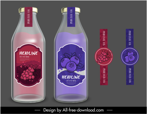 fruit juice label templates elegant classic dark colored