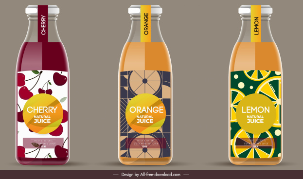 fruit juice label templates elegant colored flat decor