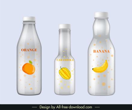 fruit juice label templates shiny modern flat sketch