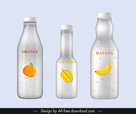 fruit juice label templates shiny modern flat sketch