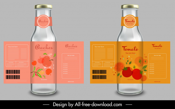 fruit juice label templates tomato peach sketch
