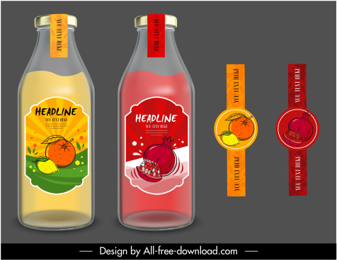 fruit juice labels templates colored handdrawn sketch