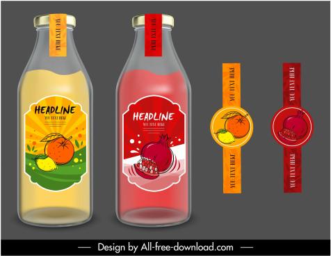 fruit juice labels templates colored handdrawn sketch