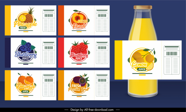 fruit juice labels templates colorful flat design