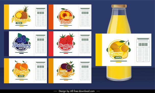 fruit juice labels templates colorful flat design