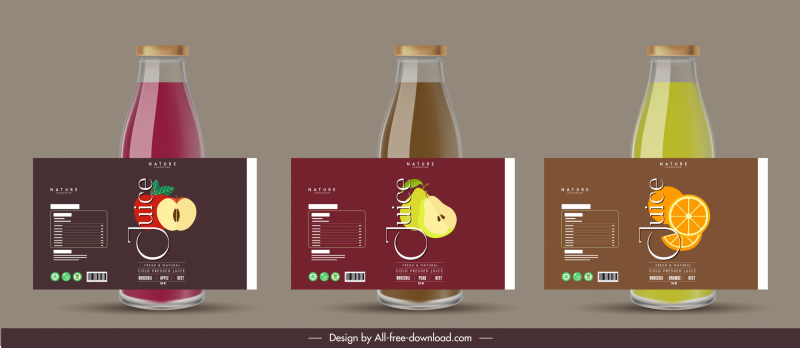 fruit juice labels templates elegant flat decor