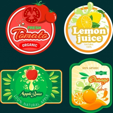 fruit juice labels tomato lemon orange apple icons