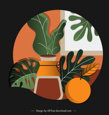 fruit juice painting colored retro decor circle isolation