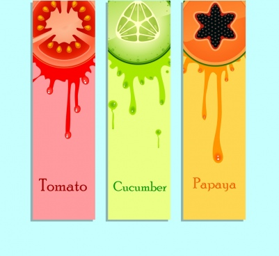 fruit juice promotion labels colorful grunge ornament