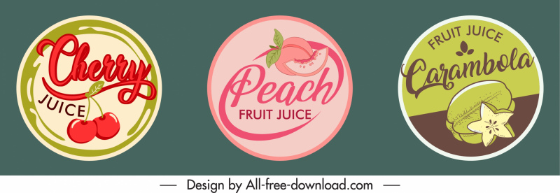fruit juice stickers templates retro flat circle design