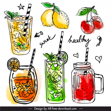 fruit juices icons colored classical handdrawn sketch