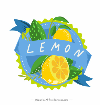 fruit label template lemon decor bright colorful classic