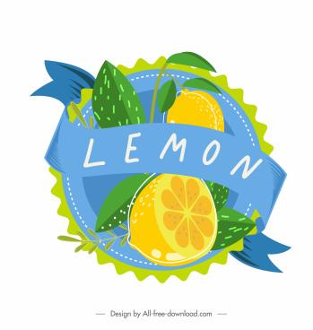 fruit label template lemon decor bright colorful classic