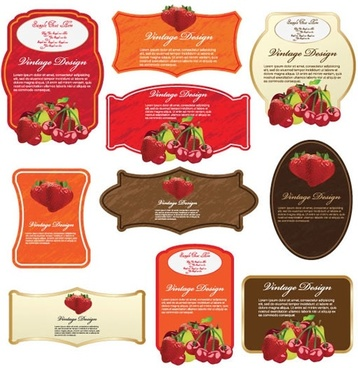 fruits labels templates modern colorful decor