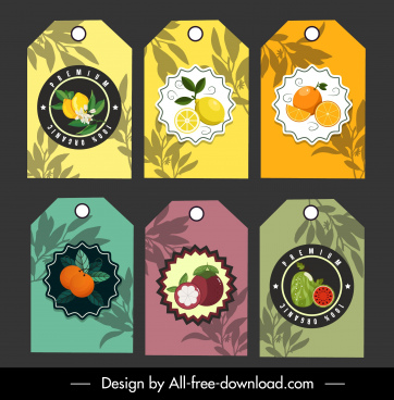 fruit labels templates elegant flat colorful decor