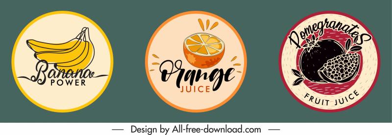 fruit labels templates handdrawn symbols classic design
