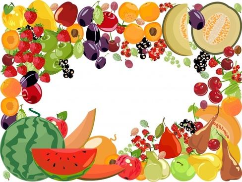 fruits border background colorful icons decor