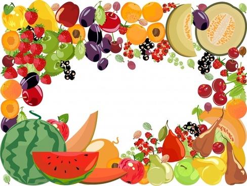 fruits border background colorful icons decor