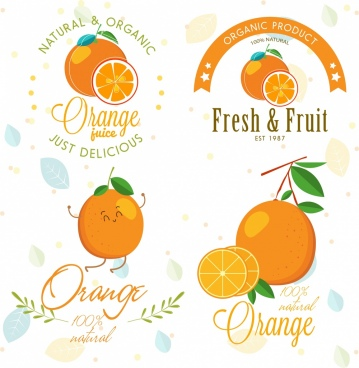 fruit logotypes templates orange icons