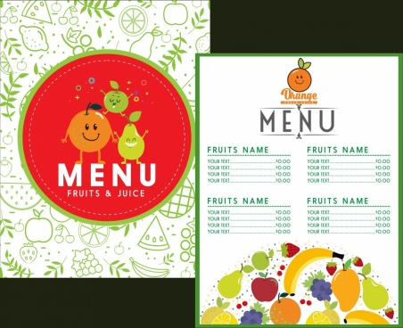fruit menu template stylized icons decor various symbols