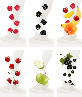 fruit milk advertising banner vector graphics