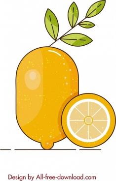 fruit painting yellow lemon icon classical design