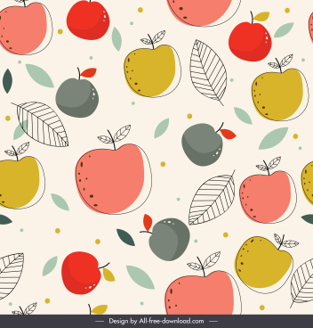 fruit pattern flat colored handdrawn sketch