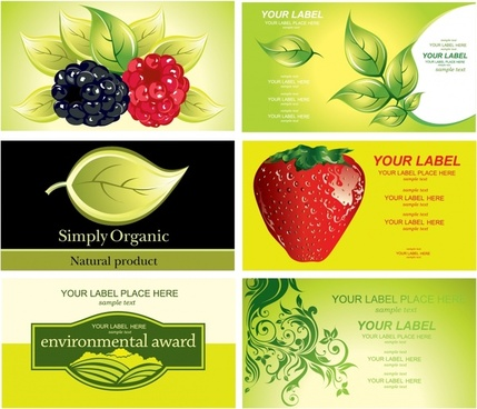 organic products banners fruit leaf icons colorful decor