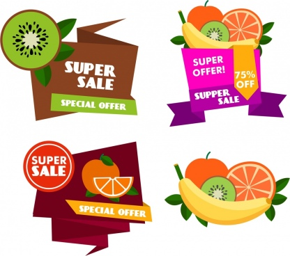 fruit sale labels collection colorful origami style