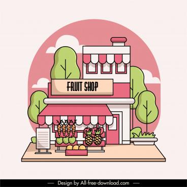 fruit shop exterior background flat handdrawn sketch