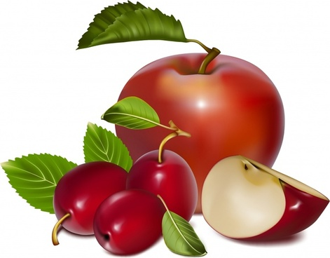 fresh fruits background cherry apple icons realistic 3d