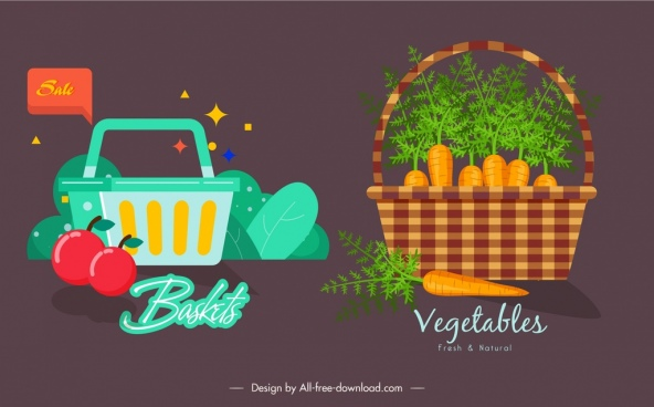 fruit vegetables baskets icons dark colored classical design