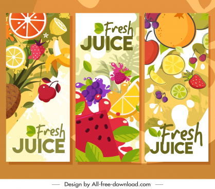 fruits advertising flyers colorful flat decor