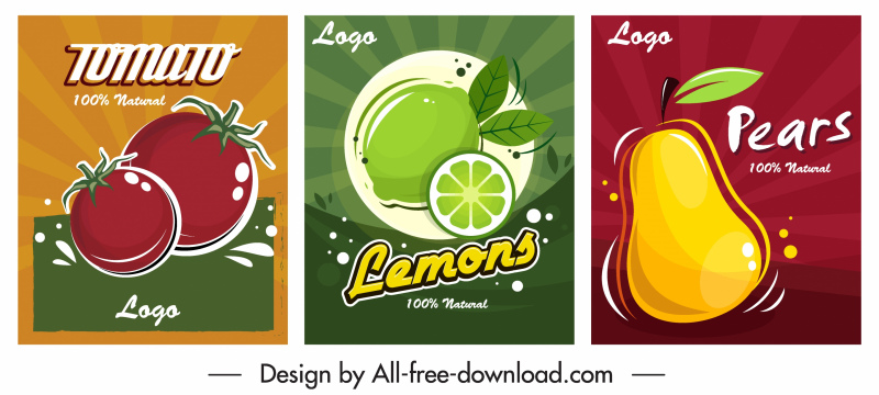 fruits advertising posters tomato lemon pear sketch