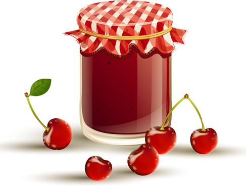 fruits and jam vectors