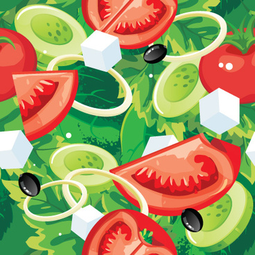 fruits and vegetables patterns vector graphics