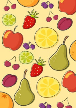 fruits background colored flat handdrawn repeating design