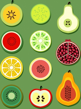 fruits background colorful flat slices decor