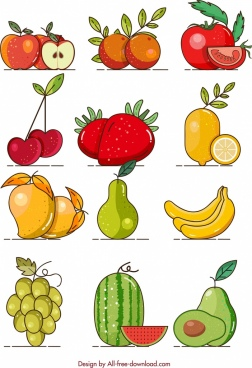 fruits background colorful icons classical design