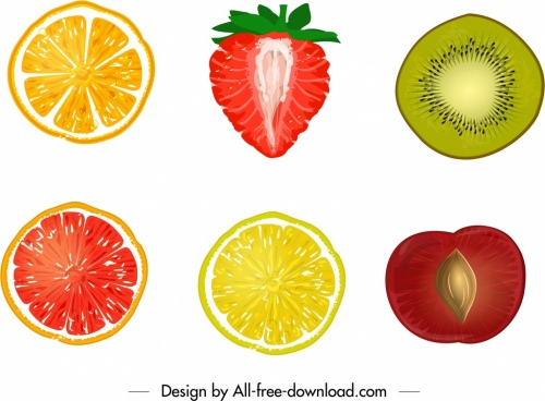 fruits background colorful sliced handdrawn design